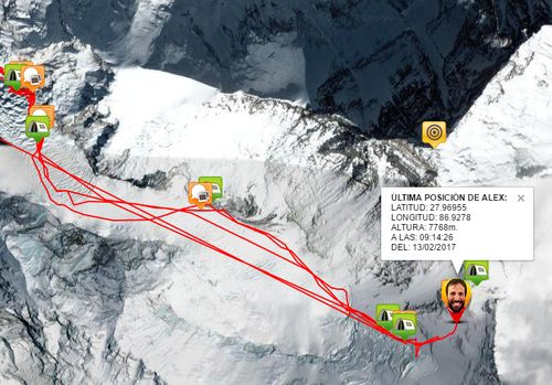 Alex Txikon na cestě do C4 - GPS tracker